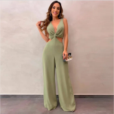 Autumn And Winter Women's V-neck Sleeveless Solid Color Wide-leg Pants Jumpsuit Nihaostyles Wholesale Clothing NSYIS80685