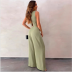autumn and winter women s V-neck sleeveless solid color wide-leg pants jumpsuit nihaostyles wholesale clothing NSYIS80685