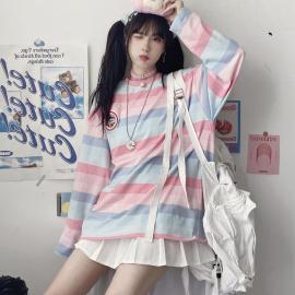 Autumn Women's Rainbow Striped Long-sleeve T-shirt Nihaostyles Wholesale Clothing NSYID80892
