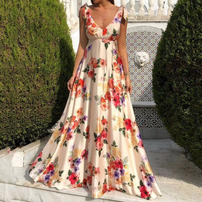 Summer Sexy V-neck Backless Strap Floral Print Big Swing Dress Nihaostyles Wholesale Clothing NSYID80891