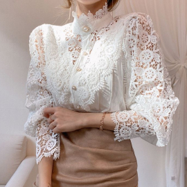 Autumn Hollow Flower Lace Stitching Stand-up Collar Shirt Nihaostyles Wholesale Clothing NSYID80890