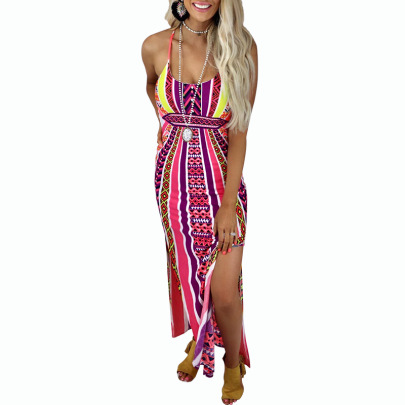 Digital Print Split Sexy Halter Sling Dress Nihaostyles Clothing Wholesale NSZH80670