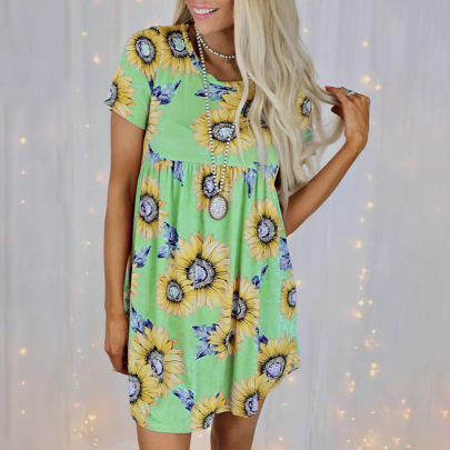 Sunflower Print Short-sleeved Round Neck Loose Dress Nihaostyles Clothing Wholesale NSZH80676