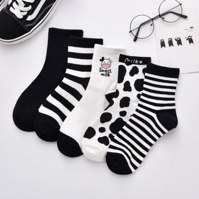 Polyester Cotton Striped Letter Medium Tube Socks 10-pairs Nihaostyles Clothing Wholesale NSLSD80690