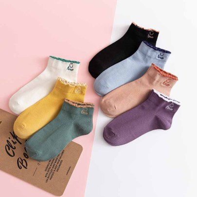 Smiley Face Embroidered Pure Color Low Cut Socks Nihaostyles Wholesale Clothing NSLSD80692