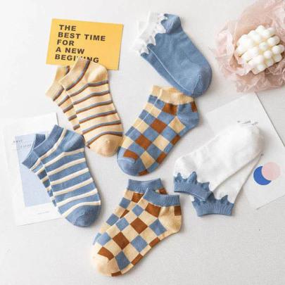 Short Polyester Cotton Socks 6-pairs Nihaostyles Clothing Wholesale NSLSD80696