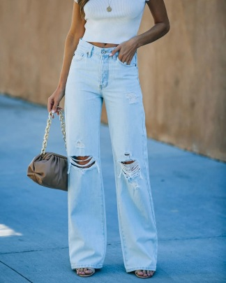 Women's Solid Color Ripped Holes Wide Legs High Waist Jeans Nihaostyles Wholesale Clothing NSYF80700