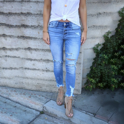 Women's Casual Washed Hole Tight Jeans Nihaostyles Wholesale Clothing NSYF80701