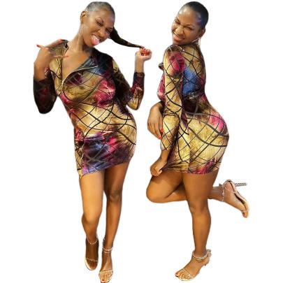 Autumn Women's Striped Zipper Slim Dress Nihaostyles Wholesale Clothing NSOML80702
