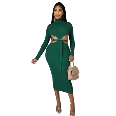 Autumn Women's Long-sleeved High-collar Hollow Dress Nihaostyles Wholesale Clothing NSXHX80704