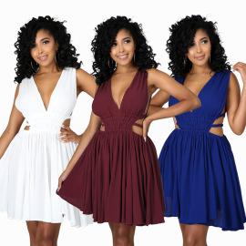Summer Women's Deep V-neck Hollow Beach Holiday Dress Nihaostyles Wholesale Clothing NSXHX80705
