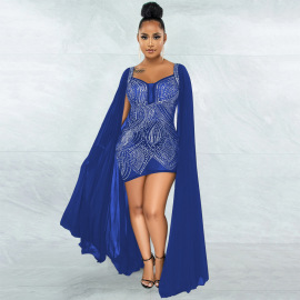 Women's Sexy V-neck Hot Rhinestone Package Hip Dress Nihaostyles Wholesale Clothing NSCYF80712