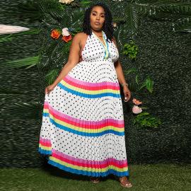 Summer Women's Sexy V-neck High Waist Colorful Striped Stitching Cake Dress Nihaostyles Wholesale Clothing NSCYF80713