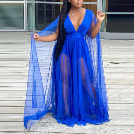 Plus Size Women's Sexy V-neck See-through Mesh Dress Nihaostyles Wholesale Clothing NSCYF80714