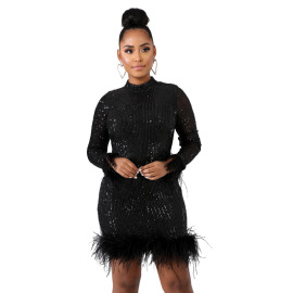 Women's Sexy Sequin Feather Short Dress Nihaostyles Wholesale Clothing NSCYF80715
