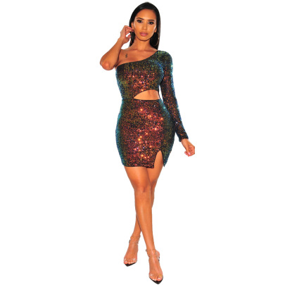 Women's Sexy Slanted Off-shoulder Hollow Sequined Splitted Dress Nihaostyles Wholesale Clothing NSCYF80718