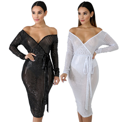 Women's Sexy Deep V-neck Net Yarn See-through Dress Nihaostyles Wholesale Clothing NSCYF80719