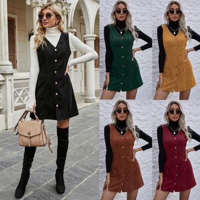 Autumn And Winter Women's V-neck Sleeveless Dress Nihaostyles Wholesale Clothing NSJM80733