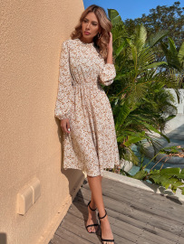 Spring And Autumn Women's Receiving Waist Print Long-sleeved Dress Nihaostyles Wholesale Clothing NSJM80735