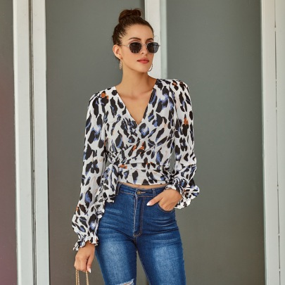 Spring And Summer Women's Sexy V-neck Leopard Print Lace-up Shirt Nihaostyles Wholesale Clothing NSJM80737