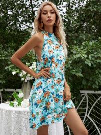 Summer Women's Sleeveless Halterneck Package Hip Floral Print Dress Nihaostyles Wholesale Clothing NSJM80741