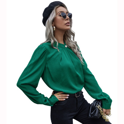 Women's Round Neck Loose Pearl Button Shirt Nihaostyles Wholesale Clothing NSJM80745