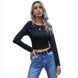 Women's Round Neck Slim Button Short Top Nihaostyles Wholesale Clothing NSJM80746