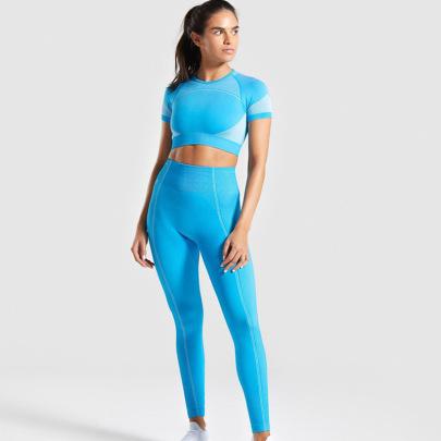 Jacquard Short Sleeve Top High Waist Pants High Stretch Yoga Suit Nihaostyles Clothing Wholesale NSXER80754
