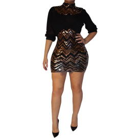 Women's Sexy Striped Sequin Short Package Hip Dress Nihaostyles Wholesale Clothing NSCYF80792