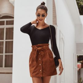 Autumn And Winter Women's High Waist Lace Up Skirt Nihaostyles Wholesale Clothing NSJM80800