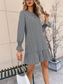 Women's V-neck Print Lantern Sleeve Chiffon Short Dress Nihaostyles Wholesale Clothing NSJM80803