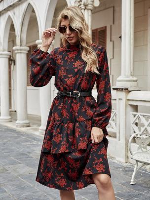 Women's Retro Print High Neck Long Sleeve Dress Nihaostyles Wholesale Clothing NSJM80806