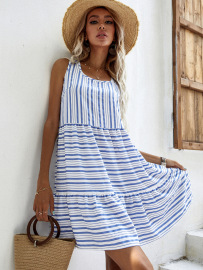 Women's Round Neck Sleeveless Striped Beach Holiday Dress Nihaostyles Wholesale Clothing NSJM80810
