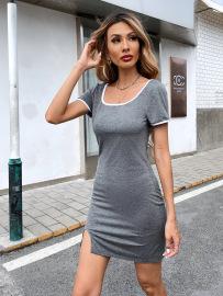 Women's Sexy Square Collar T-shirt Short Dress Nihaostyles Wholesale Clothing NSJM80814