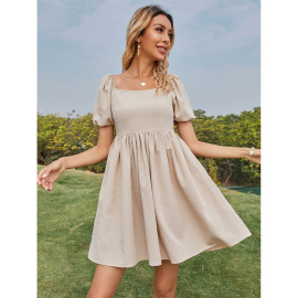 Summer Women's Square Collar Backless Cusual Dress Nihaostyles Wholesale Clothing NSJM80819