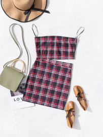 Women's Plaid Print Sling Tube Top And Skirt Two-piece Set Nihaostyles Wholesale Clothing NSJM80820