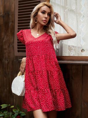 Women's V-neck Polka Dot Loose Short Dress Nihaostyles Wholesale Clothing NSJM80821