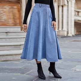 Women's High Waist Back Zipper Denim Long Skirt Nihaostyles Wholesale Clothing NSJM80823