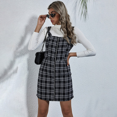 Autumn And Winter Women's Zipper Sling Plaid Short Dress Nihaostyles Wholesale Clothing NSJM80825