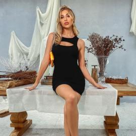 Women's Sexy Hollow Sleeveless Short Dress Nihaostyles Wholesale Clothing NSJM80826