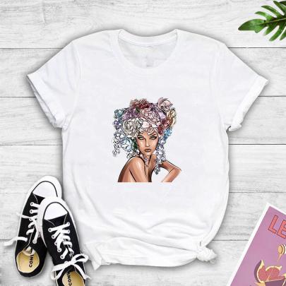 Color Character Print Short-sleeved T-shirt Nihaostyles Clothing Wholesale NSYAY81347