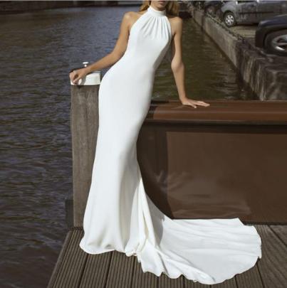 Round Neck Halterneck Slim Halter Dress Nihaostyles Clothing Wholesale NSYIS81346