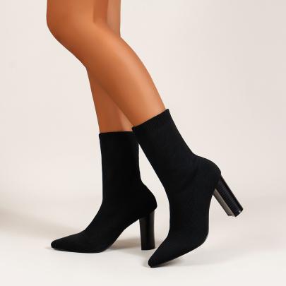 Pointed Toe Short Chunky Heel Boots Nihaostyles Clothing Wholesale NSYUS81336
