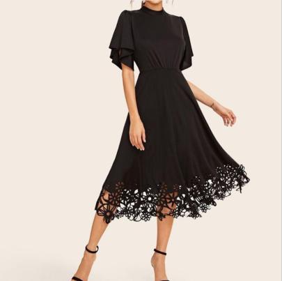 Round Neck Slim Lotus Leaf Sleeve Dress Nihaostyles Clothing Wholesale NSYIS81335