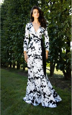 V-neck Long-sleeved Printed Slim Dress Nihaostyles Clothing Wholesale NSYIS81337