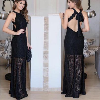 Sleeveless Backless Lace Hollow Dress Nihaostyles Clothing Wholesale NSYIS81334