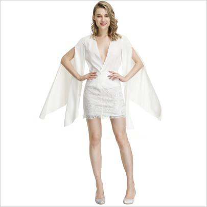 V-neck Slim Long Sleeve Shawl Lace Stitching Dress Nihaostyles Clothing Wholesale NSYIS81331
