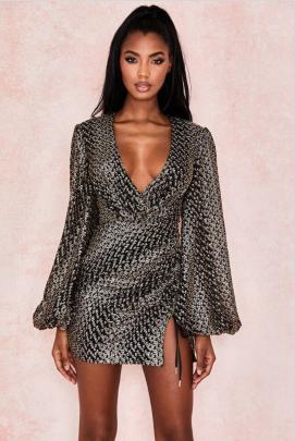 V-neck Long-sleeved Dress Nihaostyles Clothing Wholesale NSYIS81327