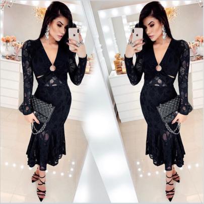 V-neck Lace Mid-length Dress Nihaostyles Clothing Wholesale NSYIS81326