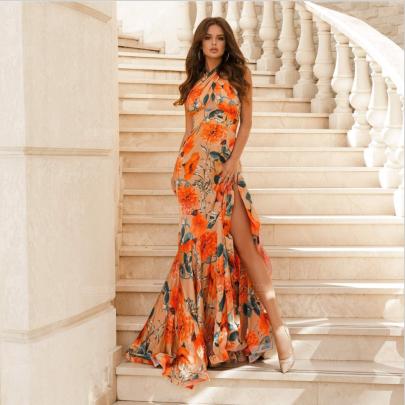 Sleeveless Halter Neck Printing Slit Dress Nihaostyles Clothing Wholesale NSYIS81323
